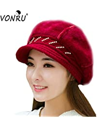 c50f1a9dfdc Elvy Fall Winter Hats for Women Knitted Beanies Rabbit Fur 6 Colors  Snapback Cap Ladies Female