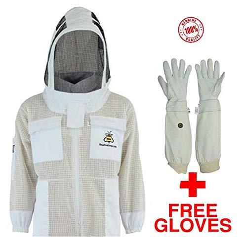 Bee Jackets Fencing 3X Layers Sicherheit mit Free Gloves - Unisex White Fabric Mesh Imkerei Jacke - Beekeeping Fencing Veil Schutzkleidung - Voll belüftete Imkerei Jacket (XXXL)