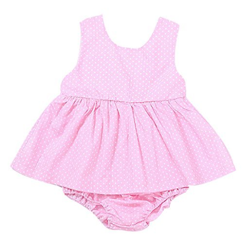VIASA_baby dress VIASA Baby Girls Sleeveless Dot Vest Dress + Shorts Pants Outfits Set (6 Month)