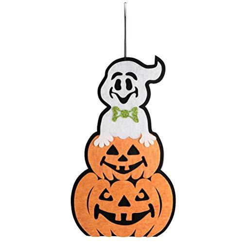LIOOBO 2 Stück Halloween Türhänger Plaque Kürbis und Ghost Hanging Wall Sign für Party Home Decoration (Halloween Büro-tür-für Sie Dekorieren)