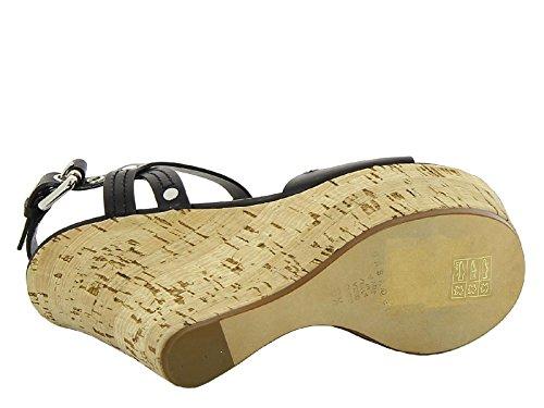 Sandales compensées hautes Casadei en cuir noir - Code modèle: 1L570D080C188E05 Noir
