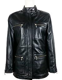 9bd95ec4ce3 Unicorn Womens Classic Mid-Length Coat - Real Leather Jacket - Black #5U