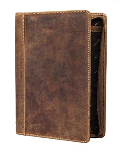Echt Leder I Greenburry Vintage A4-Konferenzmappe l Leder-Schreibmappe verschließbar I DINA4-Vertretermappe aus Leder l A4 Schreibmappe aus Leder l 34x25x3cm