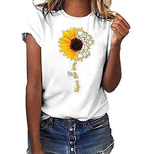 Kviklo Deman Plus Size T-Shirt Top Viele stilvolle Sonnenblumen Liebe Druck Kurzarm Summer Fashion Bluse(L(40),Weiß-Liebesgeste) -