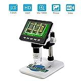 Koolertron LCD Digital Mikroskop, 4,3 Zoll 1080P HD Digital Microscope Kamera Video Recorder 50X-1000X Vergrößerung Zoom Endoskop mit 8 LEDs für Windows PC