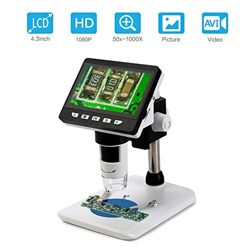 Koolertron LCD Digital Mikroskop, 4,3 Zoll 1080P HD Digital Microscope Kamera Video Recorder 50X-1000X Vergrößerung Zoom Endoskop mit 8 LEDs für Windows PC -