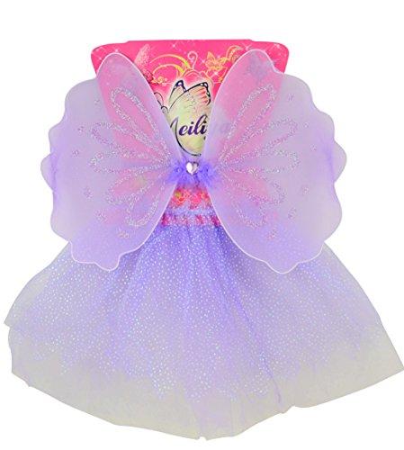 Immerschön Fee-Kostüm-Set - 2-teilig lila Kinder-Kostüm Feenflügel Fasching Karneval Rosenmontag Kostüm Party