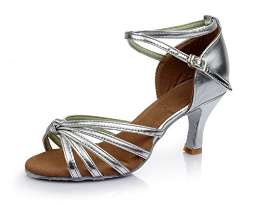 VESI - Damen Tanzschuhe Standard/Latein 5cm/7cm Absatz Silber Knoten 40