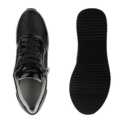 Damen Sneakers | Sportschuhe Lack Glitzer | Sneaker Wedges Metallic Pailetten | Plateauschuhe Kroko Camouflage | Keilabsatz Schuhe Schwarz Reißverschluss