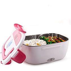 HJL Lunch Box Elettrico 40W Contenitore elettrico Thermic Dynamics Portavivande Elettrico Scaldavivande per l'ufficio, casa, scuola, in viaggio(Rosa)