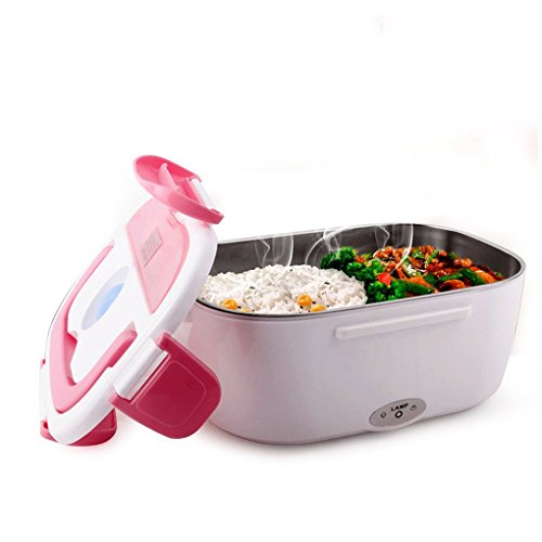 HJL Thermo Lunch Box Isolierbehälter Edelstahl Thermo Lunch Box mit Griff Foodbehälter Warmhaltebox für Nahrung, Abnehmbarer Wäsche EU-Stecker Edelstahl-Liner EU plugs (rosa)