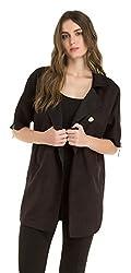 Kazo Womens Reefer Coat (115169BLACKL)
