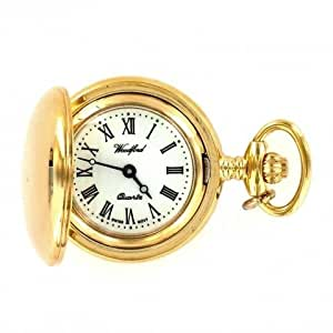 Woodford Ladies Gold Plated Full Hunter Quartz Analogue Watch 1234 with Chain and Roman Dial (Suitable for Engraving)