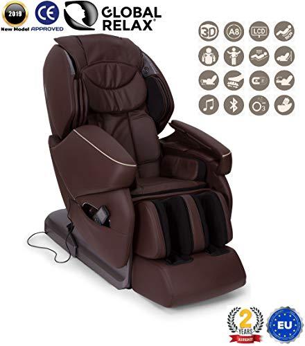 NIRVANA® 3D Massagesessel - Braun (Modell 2019) - Shiatsu Relaxsessel mit 9 Massagefunktionen - Schwerelosigkeit, Wandfrei, Magnettherapie, Ionen -Offizielle 2 JAHRE Garantie GLOBAL RELAX® Deutschland