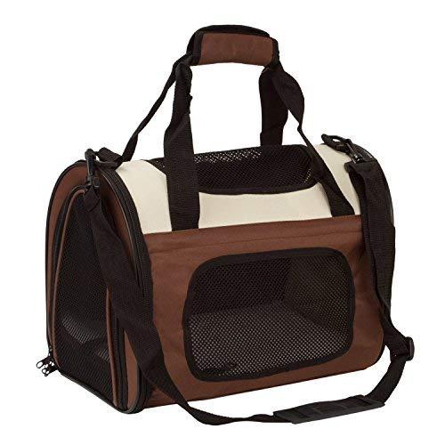 BabycarePro Plegable Transportín Gato para coche Portador Perro Elegante para avión Bolso de viaje para mascotas con estera y lados suaves, Marrón