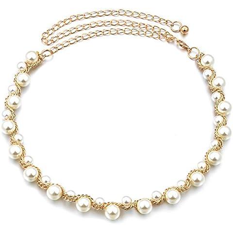 Oro Cintura Di Perle Di Metallo Catena Di Vita Delle Donne Per La Decorazione Vestito 110 cm