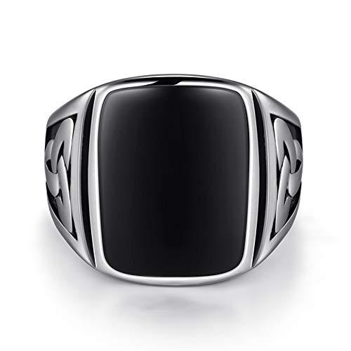 Daxey - Punk-Titanstahlring Big Black Stone Square Ring Männer Silber Farbe für Männer Schmuck Vintage Wedding Party-Geschenk [9]