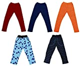 IndiWeaves Girl's 3 Solid Woolen Leggings and 2 Cotton Printed Pajamas for Winters Pack of 5