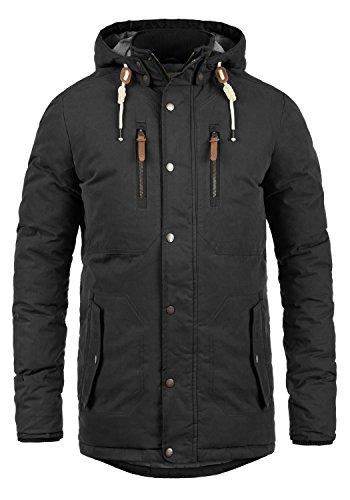 SOLID Dry Jacque Herren Parka lange Winterjacke Mantel mit Kapuze aus hochwertiger Baumwollmischung, Größe:L, Farbe:Black (9000)