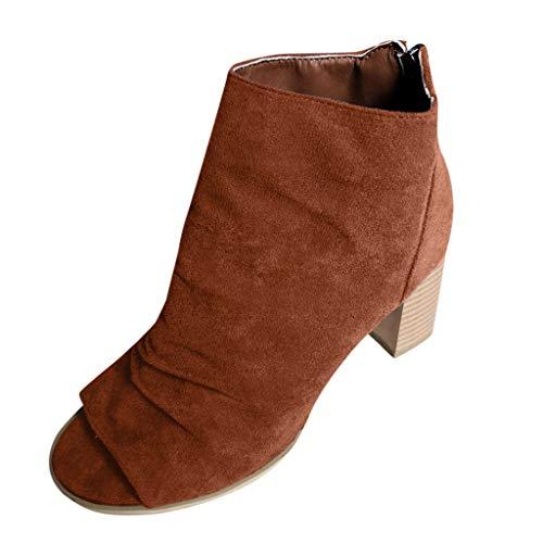REALIKE Sandalen Damen Booties Stiefel Neu Mode Schnalle Plateau Peep Toe Sandaletten Schuhe Strandsandalen Römersandalen Freizeitschuhe Bequeme Touch Braun, Schwarz, Grau 35-43