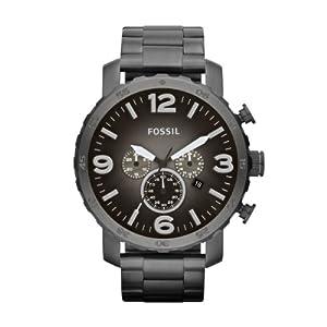 Fossil JR1437 - Reloj cronógrafo de cuarzo para hombre con correa de acero inoxidable bañado, color negro de WatchCentre
