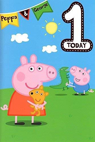Peppa Pig Alter 1 Geburtstagskarte (Party Pig Supplies George)