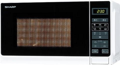Sharp Electronics R242WW Mikrowelle / 800W / Auto-MinutenStart / Kurzzeitmesser 8 Gar- und Auftau-Automatik-Programme / Garraumbeleuchtung