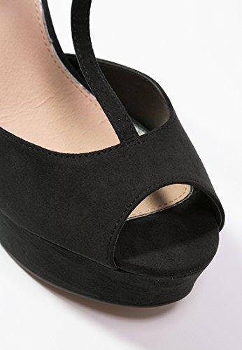 Even&ODD Escarpins Pour Femme à Talons Hauts en Noir, Rouge Ou Beige - Chaussures D'Été à Talons et Bout Ouvert - Chaussures Mary Jane Pour Femme à Plateformes Chic Noir
