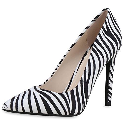 SCARPE VITA Damen Spitze Pumps Party Schuhe Stiletto High Heels Wildleder-Optik Absatzschuhe Schicke Abendschuhe 182890 Zebra Velours 36 - Schicke Heels