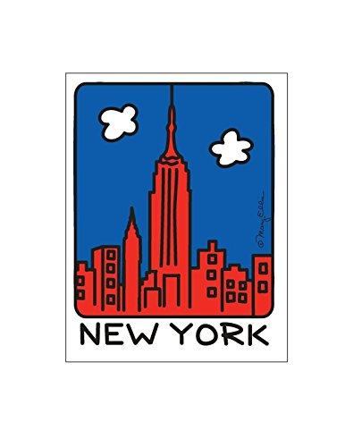 Fifth Avenue Hersteller New York City Kunstdruck von Mary Ellis 20,3x 25,4cm mattierte NYC Skyline Landmark Souvenir Prints 8 x 10 inch NY Red Skyline
