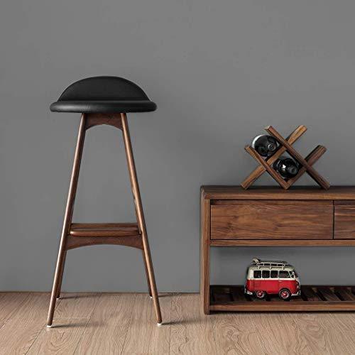 Back-stil Barhocker (Wisdom Holz Barhocker Retro-Stil hohe Hocker einfache Front Back Barhocker,60cm,Schwarze Walnuss)