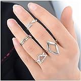 Vale® 5pcs / set Dedo Medio Midi encima del nudillo Anillo Oro extremidad de la plata de apilamiento-Plata