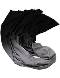 Prettystern - 220cm XL 10% Wolle Pashmina Farbverlauf gewebtes Diamant Muster unifarbe - Farbauswahl