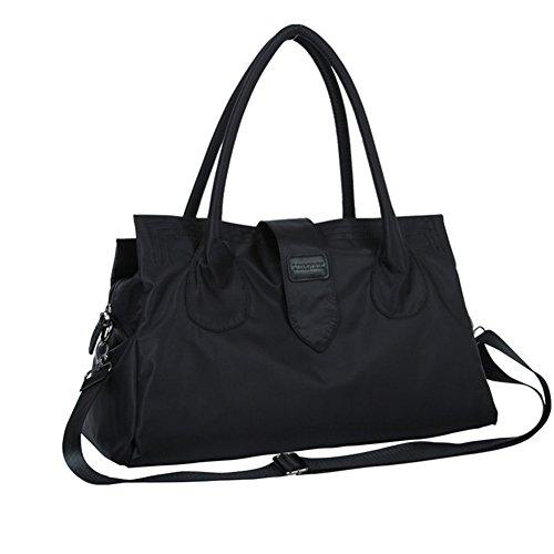 Unisex di Nylon Viaggio Borsa Grande Capacità di business borsa bagagli Borse da viaggio grande borsone palestra & Sport Fitness Borsa a tracolla nero Black 53CM×35CM×18CM Black