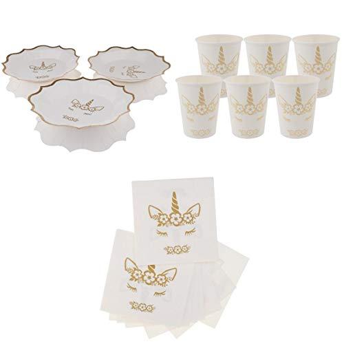 Fenteer 38pcs Jetables Papier Ustensile Serviette Gobelet Assiettes Motif Licorne pour Mariage Fête d'anniversaire Enfants