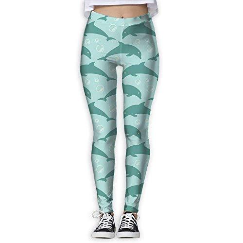 Miedhki Jumping Delfine Hose, hohe Taille, Außentasche, Yoga-Hose, Bauchkontrolle, Workout, Laufen, Stretch, Yoga Leggings Gr. XL, multi
