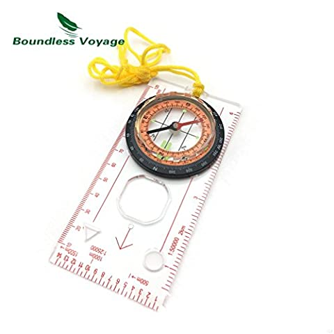 Outdoor Camping Multifunctional Map Scale Compass Waterproof Portable Hiking Cross-Country Compass with Ruler(Orange Black)