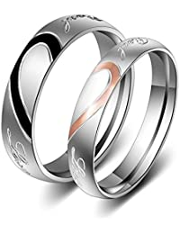 Trendsmax 4mm Moda Mujeres Su tono de la plata del acero inoxidable de oro rosa mitad Corazon Real Love Pareja Band Promise Ring compromiso de la boda