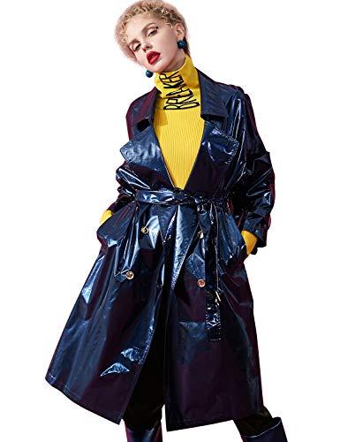 Elf sack Damen Trenchcoat in Lackleder-Optik Revers Zweireihiger Langer Mantel Lackmäntel mit Gürtel Blau XS
