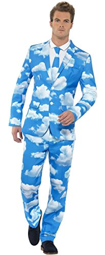 Mens Cloudy Sky Stand Out Suit Blue Skies Clouds Nature Stag Do Fancy Dress Costume Outfit M-XL (XL)