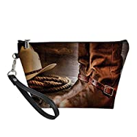 Western Useful Cosmetic Bag,Classical Cowboy Boots Traditional Ranching Spurs Hat and Rope on Antique Floor Print Decorative for Travel ,21.5×14.5×6.5IN