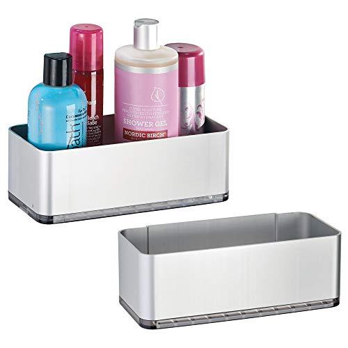 mDesign Juego de 2 Cesta para ducha – práctica estantería de baño sin  tornillos – Ideal 8150898f30e5