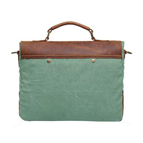 Borsa Vrikoo Vintage In Vera Pelle Tela Militare 14 Borsa Ventiquattrore Per Laptop (verde Corallo) Corallo Grün