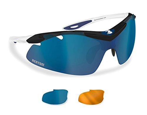 Occhiali sportivi antivento avvolgenti per ciclismo mtb running sci con lenti intercambiabili antifog - naso regolabile by bertoni af900b