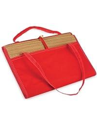 Esterilla Tapete de paja grande para verano y playa con bolsillo - Se enrolla fácilmente, con asa - Grande, Rojo, Algodón