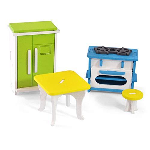 Naisicatar 3D Holzmöbel Puzzle Spielzeug-Set DIY Haus Zimmer Miniaturmodelle Kit Puzzle-Geschenk für Kinder (Küche) Party-Geschenke