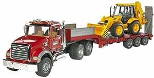 BRUDER - 02813 - Camion de transport MACK rouge avec tractopelle JCB 4CX jaune