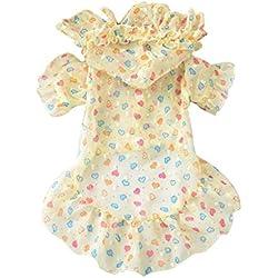 CAOQAO Robe De pour Chien Impression Section Mince Respirant Mousseline De La Dentelle Robe Jupe Princesse Robes De Chihuahua éTé VêTements Confortable Et À La Mode,pour Chien, Chat (L,Jaune)