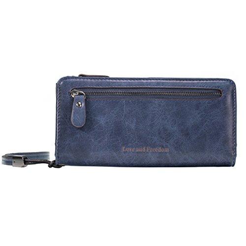 Echtes Leder Damen Geschäfts-Geldbörse mit Armband | Damen Unterarmtasche mit Innenaufteilung wie EIN Akkordeon | ID, Kredit- und Geldkartenfächer | Reißverschluss (Blau)