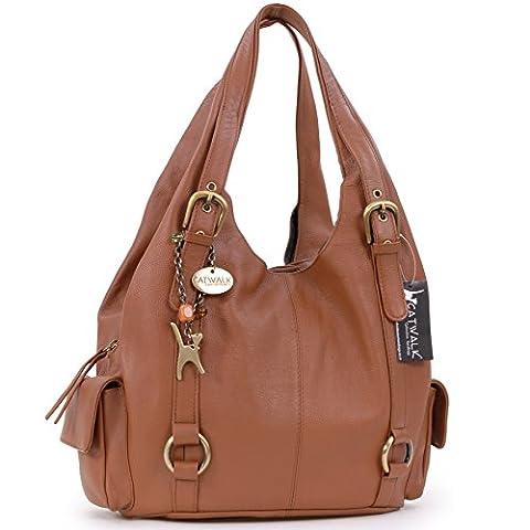 Catwalk Collection Big Leather Shoulder Bag - Alex - Tan